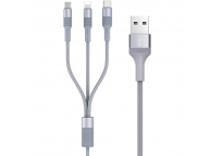 Cablu Date si Incarcare USB la Lightning - USB la MicroUSB - USB la USB Type-C Borofone BX21, 3-in-1 Outstanding, 1 m, Gri, Blister