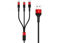 Cablu Date si Incarcare USB la Lightning - USB la MicroUSB - USB la USB Type-C Borofone BX21, 3-in-1 Outstanding, 1 m, Rosu, Blister