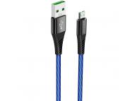 Cablu Date si Incarcare USB la MicroUSB Borofone BU13 Craft, 4A, 1.2 m, Negru, Blister