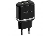 Incarcator Retea cu cablu USB Tip-C Borofone BA25A Outstanding, 2 X USB, Negru, Blister