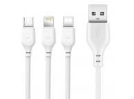Cablu Date si Incarcare USB la Lightning - USB la MicroUSB - USB la USB Type-C XO Design NB103, 3in1, 2,1A, 1 m, Alb, Blister
