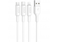 Cablu Date si Incarcare USB la Lightning - USB la MicroUSB - USB la USB Type-C HOCO 3in1 Soarer X25, 1 m, Alb, Blister