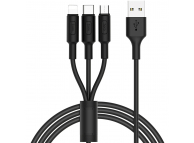 Cablu Date si Incarcare USB la Lightning - USB la MicroUSB - USB la USB Type-C HOCO 3in1 Soarer X25, 1 m, Negru, Blister