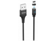 Cablu Date si Incarcare USB la Lightning HOCO U76 Magnetic, 2.4A, 1.2 m, Negru, Blister