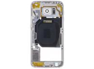 Carcasa Mijloc cu geam camera Alb Samsung Galaxy S6 G920