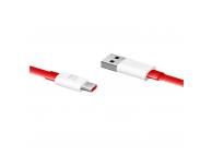 Cablu Date si Incarcare USB la USB Type-C OnePlus Warp Charge, 1.5 m, Rosu, Blister 5461100012