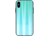 Husa TPU OEM Aurora cu spate din sticla pentru Samsung Galaxy A30s / Samsung Galaxy A50 A505 / Samsung Galaxy A50s, Turcoaz, Bulk