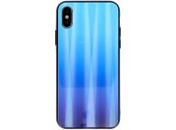 Husa TPU OEM Aurora cu spate din sticla pentru Samsung Galaxy A40 A405, Albastra, Bulk
