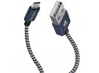 Set 2xCablu Date si Incarcare USB la MicroUSB DUX DUCIS K-TWO KII 5V, 0.2 m, Albastru, Blister