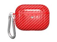 Husa TPU Carbon Fiber OEM, cu incarcare Wireless si breloc pentru Airpods Pro, Rosie  Blister