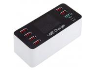 Incarcator Retea Statie USB OEM A9 Plus, AC 100V~240V, 1xQC3.0, 1 X USB Tip-C - 6 x USB, Alb, Blister