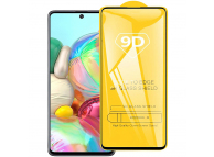 Folie Protectie Ecran OEM pentru Samsung Galaxy A51 A515, Sticla securizata, Full Face, Full Glue, 9D, Neagra, Blister