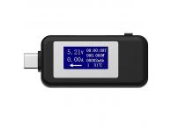 Tester consum/voltaj USB Type-C / USB-C  Keweisi KWS-1802C, Negru