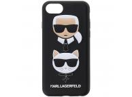 Husa Piele - Poliuretan Karl Lagerfeld pentru Apple iPhone 8 / Apple iPhone SE (2020), Karl & Choupette, Neagra, Blister KLHCI8KICKC