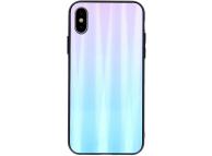 Husa TPU OEM Aurora cu spate din sticla pentru Huawei P Smart (2019), Albastra - Roz, Bulk