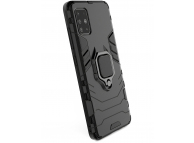 Husa Plastic - TPU OEM Ring Tough Armor Kickstand pentru Samsung Galaxy A51, Neagra, Bulk