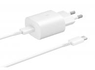 Incarcator Retea cu cablu USB Tip-C Samsung EP-TA800EWE, Fast Charge, 25W, 1 X USB Tip-C, Alb, Bulk