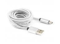 Cablu Date si Incarcare USB la USB Type-C SBOX Textil Fruity, 1.5 m, Alb, Blister CAB0143