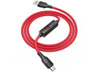 Cablu Date si Incarcare USB la MicroUSB HOCO Timing S13, 1.2 m, Rosu, Blister