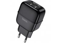 Incarcator Retea USB HOCO C77A Highway, 2.4A, 2 X USB, Negru, Blister