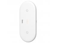 Incarcator Retea Wireless HOCO CW23 Dual Power cu Incarcare Rapida 3.0, Alb, Blister