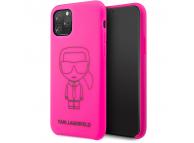 Husa TPU Karl Lagerfeld pentru Apple iPhone 11 Pro Max, Neagra Roz, Blister KLHCN65SILFLPI