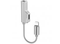Adaptor Audio Splitter Lightning - Lightning / 3.5 mm Remax RL-LA02i, Argintiu, Blister