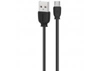Cablu Date si Incarcare USB la MicroUSB Remax RC-134, 1 m, Negru, Blister