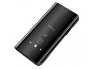 Husa Plastic OEM Clear View pentru Huawei P40 Pro, Neagra, Blister