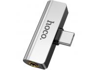 Adaptor Audio USB Type-C - USB Type-C / 3.5 mm HOCO LS26, Argintiu, Blister