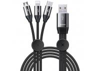 Cablu Date si Incarcare USB - Lightning / USB Type-C / MicroUSB Baseus 3.5A, 1 m, Negru, Blister CAMLT-FX01