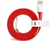 Cablu Date si Incarcare USB la MicroUSB OnePlus, 1 m, Rosu, Bulk