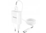 Incarcator Retea cu cablu USB Tip-C Dudao A3EU, Quick Charge, 1 X USB, Alb