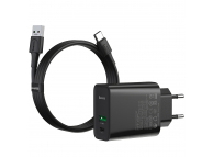 Incarcator Retea cu cablu USB Tip-C Baseus VOOC Quick Charge 4.0, 1 X USB - 1 X USB Tip-C, Negru, Blister TZCCFS-H01