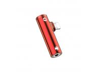 Adaptor Audio Splitter Lightning - Lightning / 3.5 mm Usams 2in1, AU07, Rosu, Blister SJ276LN03