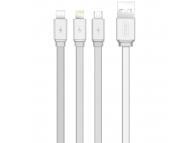 Cablu Date si Incarcare USB - Lightning / USB Type-C / MicroUSB XO Design NB18, 3in1, 2.4A, 1.2 m, Argintiu, Blister