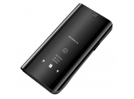Husa Plastic OEM Clear View pentru Samsung Galaxy M21, Neagra, Blister