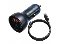 Incarcator Auto cu cablu USB Tip-C Baseus 45 W, 5A, Quick Charge 4.0 + display, 1 X USB - 1 X USB Tip-C, Gri, Blister TZCCKX-0G