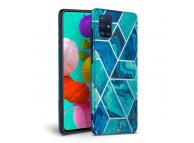 Husa TPU Tech-Protect Marble pentru Samsung Galaxy A41, Albastra, Blister