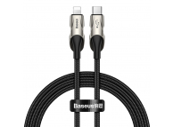 Cablu Date si Incarcare USB la Lightning Baseus Backlit LED, 18W, 480 Mbps, 1 m, Negru, Blister CATLYY-01
