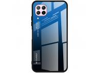 Husa TPU OEM Gradient cu spate din sticla pentru Huawei P40 lite, Albastra Neagra, Bulk