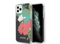 Husa Plastic - TPU Guess Flower Shiny N.1 pentru Apple iPhone 11 Pro Max, Neagra, Blister GUHCN65IMLFL01