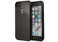 Husa Plastic Ferrari Carbon Heritage pentru Apple iPhone 8 / Apple iPhone SE (2020), Neagra, Blister FEHCAHCI8BK