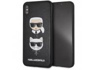 Husa Piele - Plastic Karl Lagerfeld pentru Apple iPhone XS Max, Karl and Choupette, Neagra, Blister KLHCI65KICKC