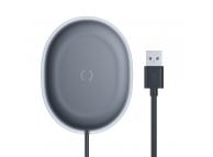 Incarcator Retea Wireless Baseus Jelly Qi 15W + cablu USB Typ C - 1m, Negru, Blister WXGD-01