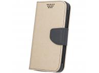 Husa Piele - TPU OEM Fancy Universala pentru Telefon 5.5 inci, Neagra - Aurie, Bulk
