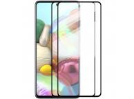 Folie Protectie Ecran Enkay pentru Samsung Galaxy A71 A715, Sticla securizata, Full Face, Full Glue, Set 2 Bucati, Neagra, Blister