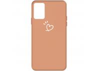 Husa TPU OEM Antisoc pentru Samsung Galaxy A71 A715, Heart, Portocalie, Bulk