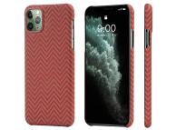 Husa Fibra Aramida Pitaka MagEZ pentru Apple iPhone 11 Pro, Car Case Magnet, Tesatura Dreptunghiulara (Herrignbone), Rosie Portocalie, Blister KI1107