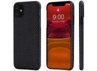 Husa Fibra Aramida Pitaka MagEz pentru Apple iPhone 11, Car Case Magnet, Tesatura diagonala (Twill), Neagra Gri, Blister KI1101R